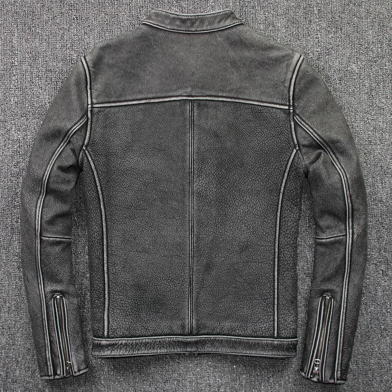 Geniune Jacket Men Cow Leather Coat Blouson Moto Vintage Chaqueta Hombre Plus Size Jaqueta De Couro 205 MF109