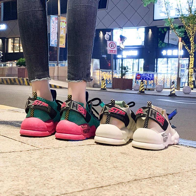 Năm 2019 Thời Trang Mùa Hè Sneakers Nữ Mùa Thu Chun Dành Cho Nữ Nữ Nền Tảng Giày Canvas Nữ Giày Thường