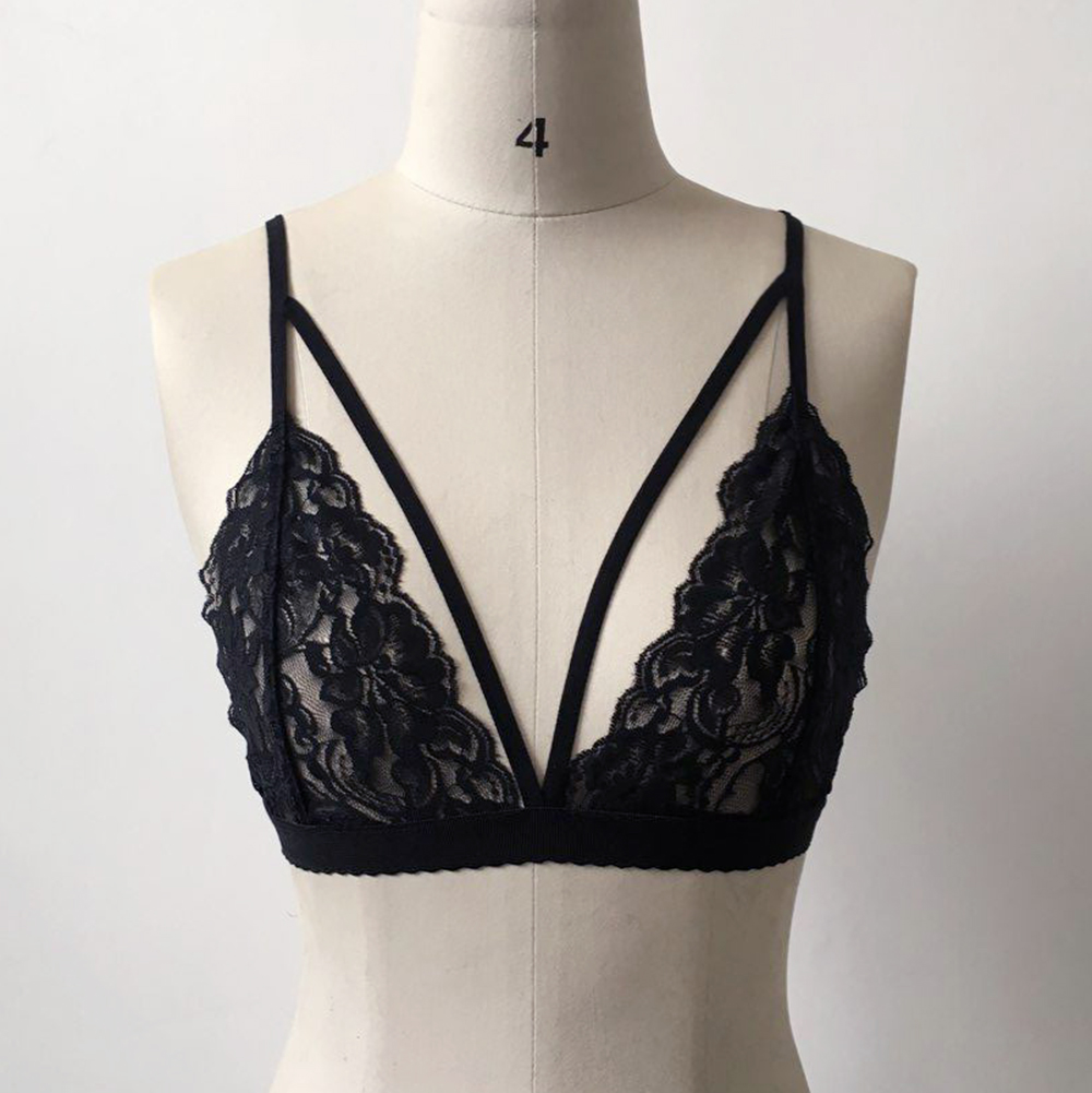 New Sexy Women Push-Up Lace Bra Black Erotic Ladies Floral Lingerie Bra