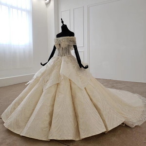Image 3 - Htl1106 플리츠 볼 가운 웨딩 드레스 럭셔리 보트 넥 바닥 길이 웨딩 드레스 플러스 사이즈 커브 모양 로브 mariage en perle