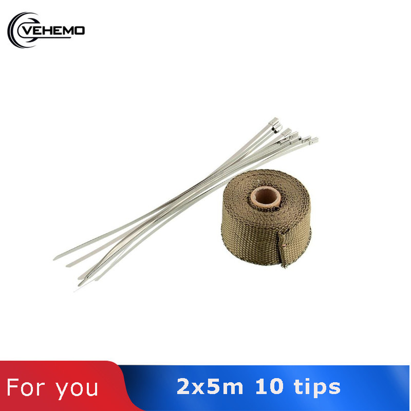 VEHEMO 2x5m High Temp Exhaust Heat Wrap Army Green Heater Retention Resistant Downpipe 10 Stainless Steel Replacement Ties Tape