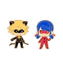2019 New Ladybug Anime Figure Brooch Marinette Cat Noir Enamel Pins Cute Cartoon Christmas Jewelry Gift For Kids Girl Women