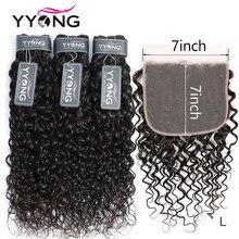 Yyong Store brasiliano Water Wave 3 fasci con chiusura 4x4 e 7x7 Remy 8-30 pollici fasci di tessuto per capelli umani con chiusura frontale