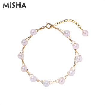 MISHA Fashion Natural Pearl Bracelet For Women Luxury Jewelry Pearl Bracelet Charm Birthday Xmas Gifts For Girls 2371
