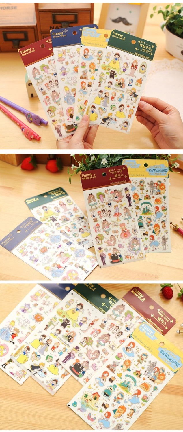 Купить с кэшбэком Funny Sticker World Fairy Tale Stickers Cartoon Beautiful Princess Decoration for Diary Phone Album Gift Stationery FT926
