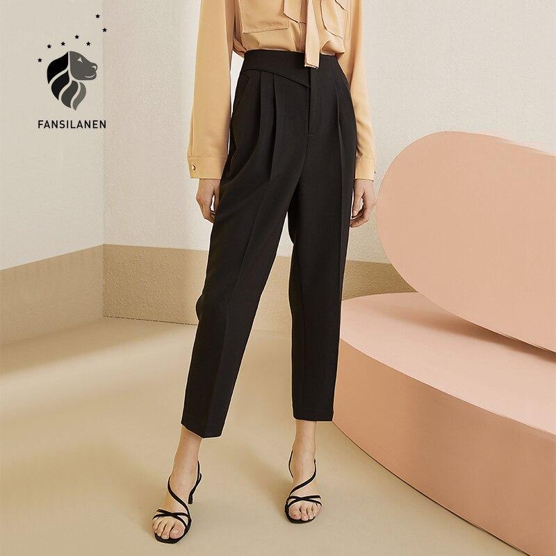 FANSILANEN Office lady black suit pants capri Women pleated streetwear casual pants High waist loose elegant trousers bottom