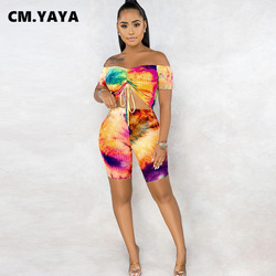 CMYAYA Women Sets Girl Summer Tracksuits Tie-dye Print Crop Top+Shorts Suit Two Piece Set Night Club Party 2 Pcs Outfits Street