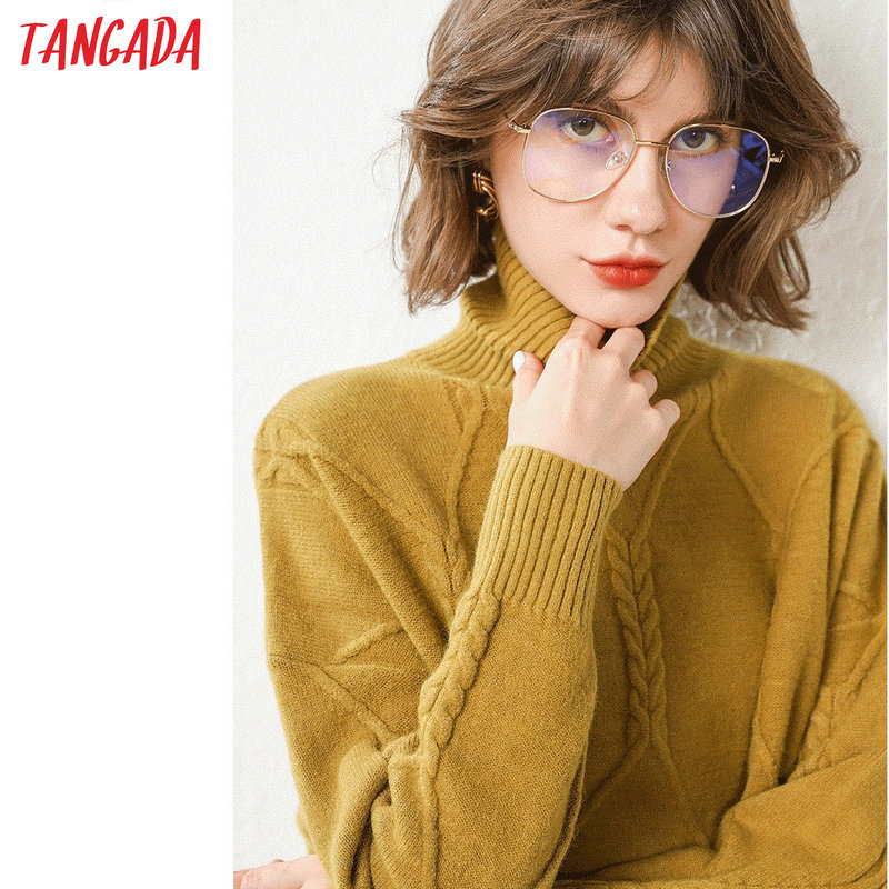 Tangada Women Jumpers Asymmetric Sweater Patchwork Winter New Arrival Korean Thick Oversize Sweater Twist Ladies Pullover AQJ22