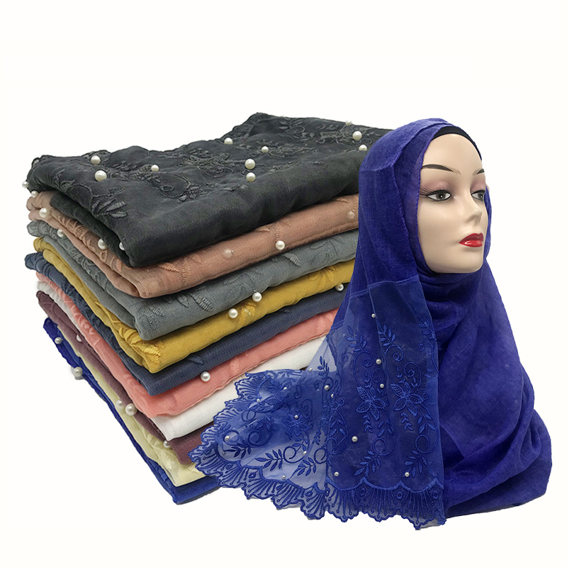 Malaysia Floral Lace Embroidery Women Hijabs Scarf Plain Cotton Viscose Headscarf Wrap Beads Islamic Modest Headband Long Shawl