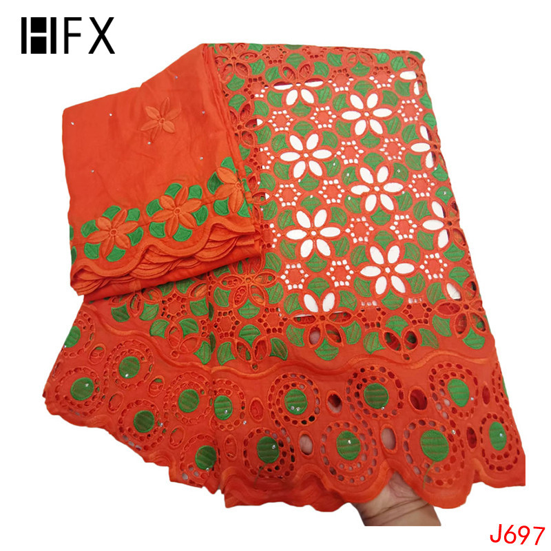 HFX 2019 Swiss Voile Lace in Switzerland Nigeria Bridal Dress 7 Yards Punch Cotton Lace Orange Mix Green African Fabric L697