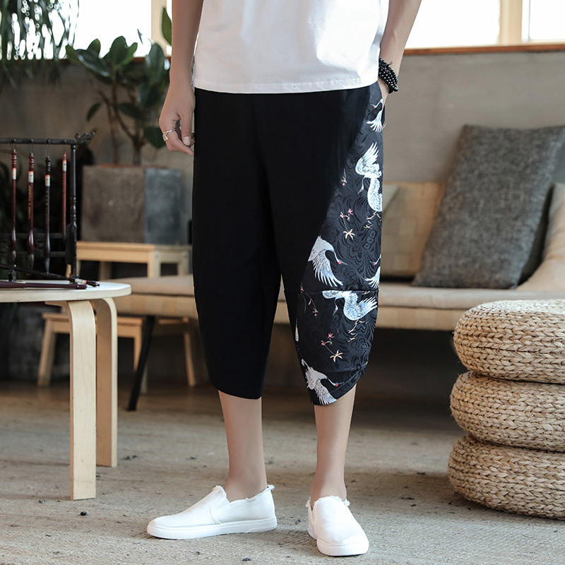 2020 Men Chinese Style Summer Big Size Casual Calf-Length Pants Ethnic Style Print Patchwork Loose Male Trouser Harem Pants 5XL