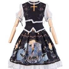 Темный Стиль Готическая японская принцесса Лолита Vestidos Кружева рюшами колледж Стиль средней талии бантом Лолита op платье kawaii
