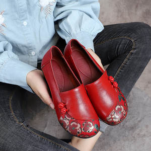 Image 4 - GKTINOO Spring Autumn National Style Women Pumps Printing Flowers Round Toe Genuine Leather Women Thick Heel Shoes Big Size 41