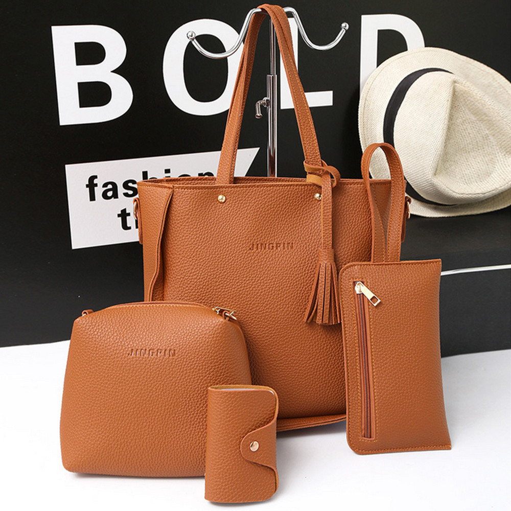 4 Pcs PU Leather Ladies Bag Casual Retro Lychee Tassel Shoulder Bag Large Capacity Wallet Solid Color Card Package Wholesale