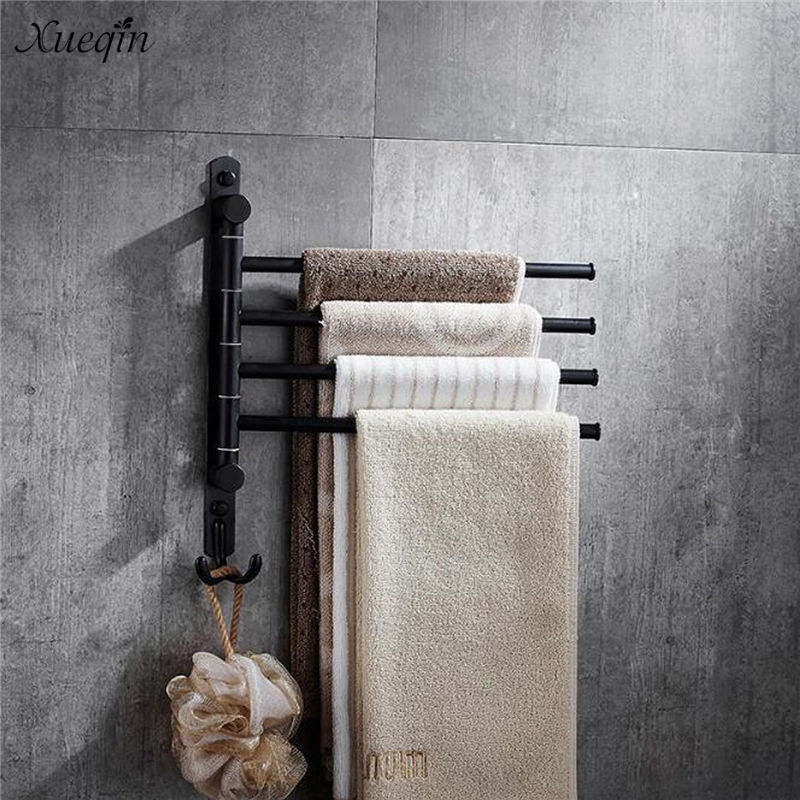 Xueqin 2/3/4 Poles Black Bronze Stainless Steel Towel Bar Rack Holder Wall Mounted Hook Swivel Bathroom Hanger