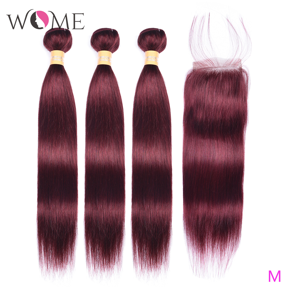 WOME Pre-colored 99j Human Hair Bundles With Closure Malaysian Straight Bundles With Closure Non-remy Hair 3Bundles With Closure