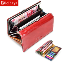 DICIHAYA Wax Oil Leather Women Wallet Genuine Leather Lining Purse Brand Design Clutch Money Bag Ladies Coins Holder Phone Bag