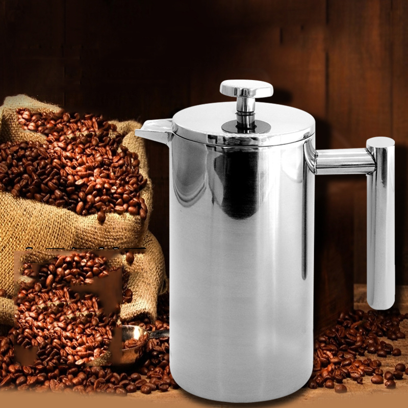 Stainless Steel Coffee Pot With Strainer Double Layer Heat Preservation Tea Making Filter Pressing Pot