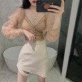 Oi menina nova malha puff manga comprida blusa curta + império design assimétrico mini saia 2 pçs conjunto chique primavera 2 peças terno femme