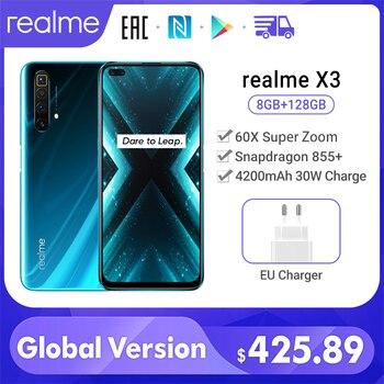 Купить Realme X3 мобильный телефон Глобальная версия суперзум 8 ГБ 128 Snapdragon 855 + 120 Гц Дисплей 64-мегапиксельная четырехъядерная камера UFS 3,0 NFC 30 Вт Зарядно...