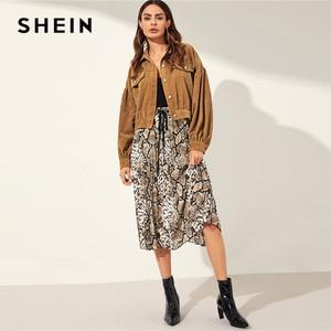 Image 5 - SHEIN Solid Drop Shoulder Single Breasted Corduroy Jacket Coat Women 2019 Autumn Streetwear Bishop Sleeve Ladies Casual Outwear