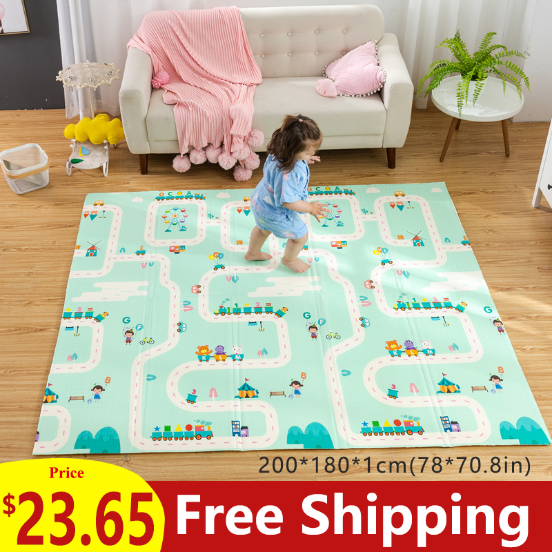 180X200CM Baby Mat 1CM Thickness Cartoon XPE Kid Play Mat Foldable Anti skid Carpet Children Game 180X200CM Baby Mat 1CM Thickness Cartoon XPE Kid Play Mat Foldable Anti-skid Carpet Children Game Mat