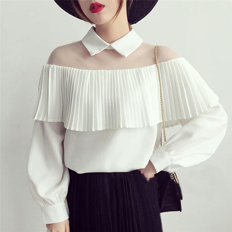 Fashion Women's Blouse Summer Long Sleeve Lady Shirt Frilly Ruffle Lace Chiffon Shirts Half Transparent Blouse Loose Tops Shirt