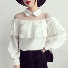 Fashion Women's Blouse Summer Long Sleeve Lady Shirt Frilly