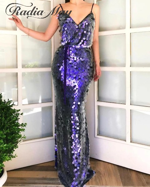 Shiny Purple Sequined Mermaid Evening Dress 2020 Sexy Spaghetti Straps Long Prom Dresses Graduation Party Gowns