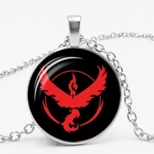 Cartoon Logo Pokemon Go Flame Bird Glass Bullet Pendant Necklace Fashion Sweater Chain Accessories