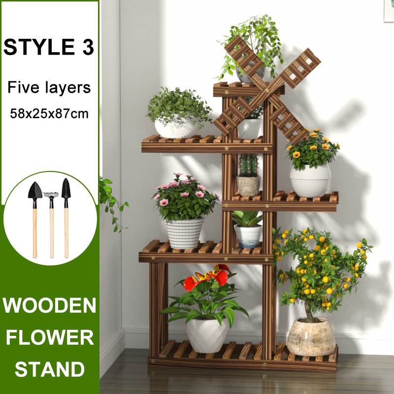 Balcony Plant Stands Shelves Indoor Flower Stand For Flower Pot Wood Damp-proof Antiseptic Garden Patio Flower Rack with tool