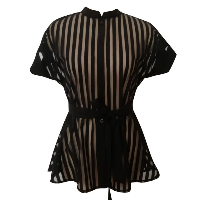 #Z30 See-through Womens Mesh Blouse Shirt Summer See Belt Striped Peplum Tops Elegant Streetwear Sexy Classy Party Blouses 5