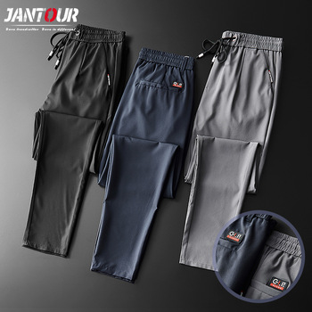 Summer Skinny Men's Pants Casual Jogging Outdoor Cargo Slim Classic Original Clothes Black Gray Thin Fast Dry Trousers Male 38 1
