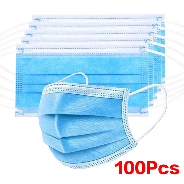 100pcs Non Woven Disposable Facemask 3 Layer Filter Cloth Hanging Ear Safety Elastic Anti Virus Anti Dust Fog Protective Masks