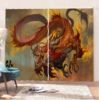 Red Dragon Curtains Room Home Modern Curtain Bathroom Curtains Animal Curtains For Living Room Bedroom Colorful Blackout Curtain
