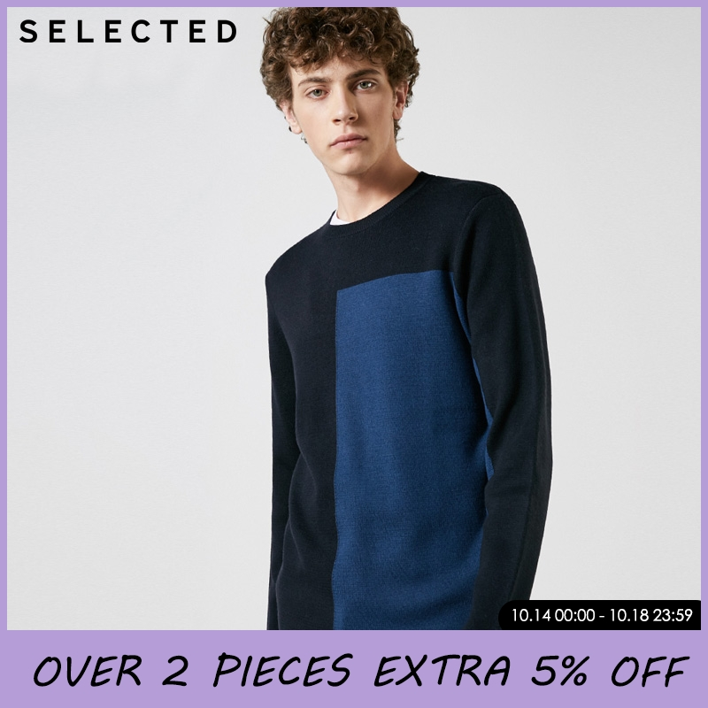 SELECTED Mens Stitching Colour Knitted Sweater   418424529