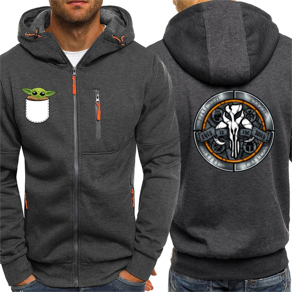 The Mandalorian Cool Funny Cartoon Hoodies Man Baby Yoda Cute Outwear Warm Hot Selling Coat Men This Is The Way Male Zip Clothes