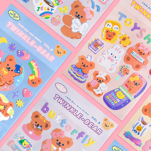 Mohamm 1Pc Milkjoy Series Korean Style Glittery Bear Stickers Decoration Scrapbooking Paper Creative Stationary