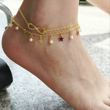 BOHO Letter Infinity Love Star Anklet & Bracelet Imitation Pearl Multilayer Chain Ankle Braclet for Women Summer Beach Jewelry