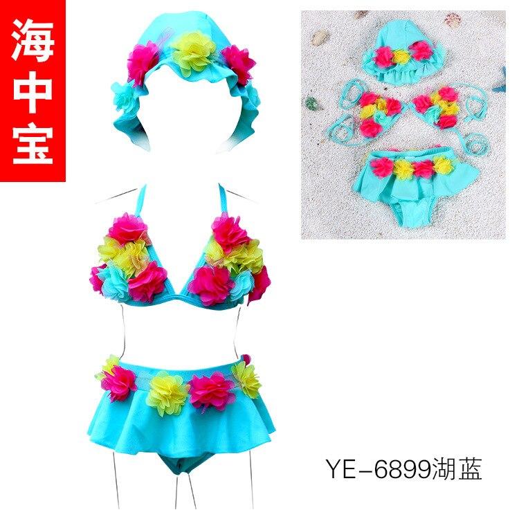 2017 New Style Korean-style CHILDREN'S Swimwear GIRL'S Swimsuit Baby Baby Swimsuit Bikini With Waterproof Cap