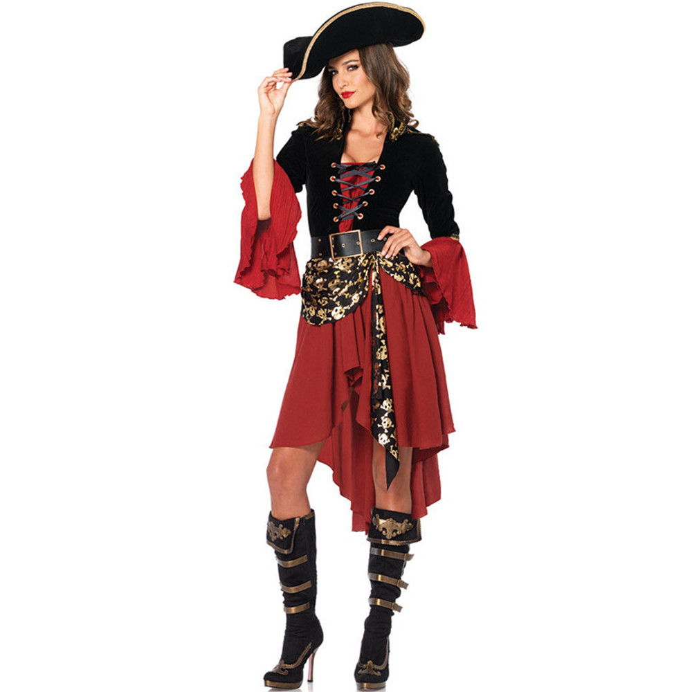 Pirate <font><b>Costumes</b></font> Fancy Carnival Performance <font><b>Sexy</b></font> <font><b>Adult</b></font> <font><b>Halloween</b></font> <font><b>Costume</b></font> Dress High Quality Captain Party Women Cosplay image