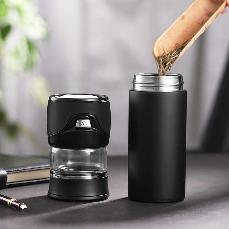 الشاي فصل المياه زجاجة تُرمُس 304 الفولاذ المقاوم للصدأ الشاي Infuser الترمس ترموس تفريغ زجاجات مع الشاي تصفية اثنين غطاء