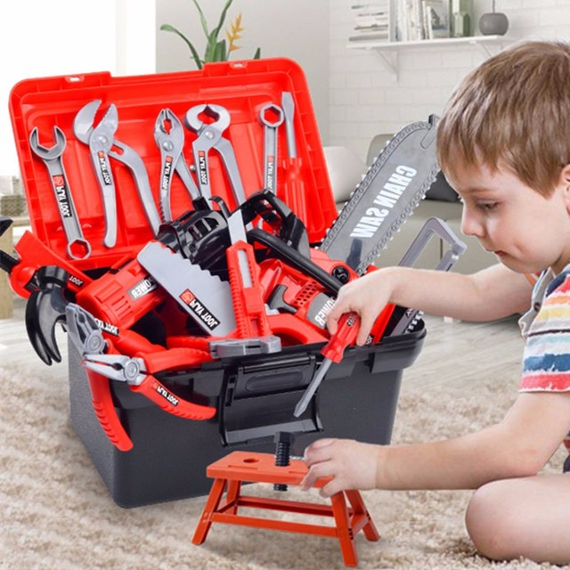 Children's Toolbox Engineer Simulation Repair Tools Pretend Toy Electric Drill Screwdriver Tool Kit Play Toy Box Set for Kids 1