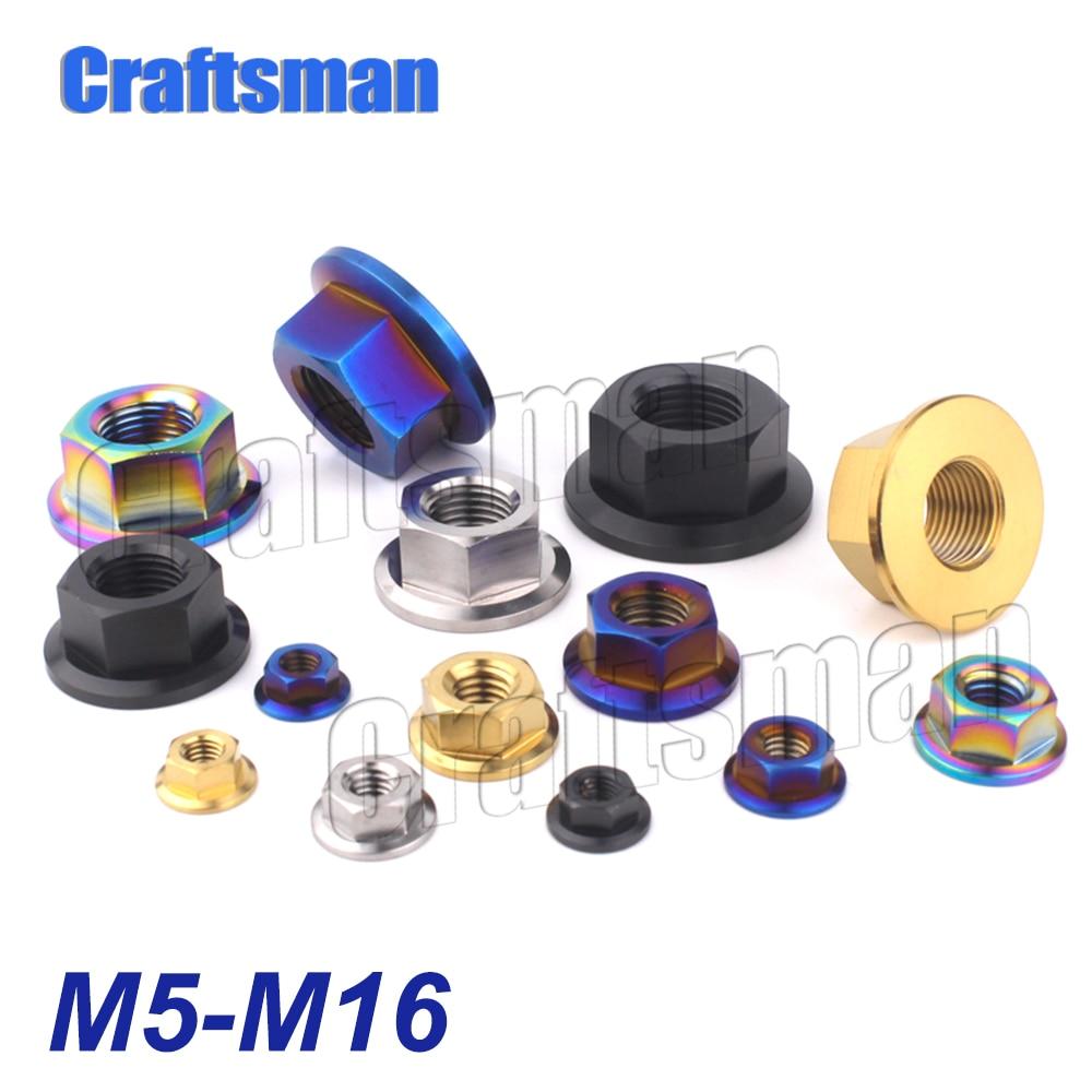 Титановые гайки Craftsman Ti M5 M6 M8 M10 M12 M14 M16, фланцевые гайки, болты для мотоцикла, велосипеда