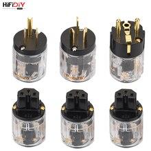 HIFIDIY canlı ab/abd/AU saf bakır altın kaplama priz kuyruk konnektörü HIFI ses güç kaynağı kablosu konnektörler şeffaflık