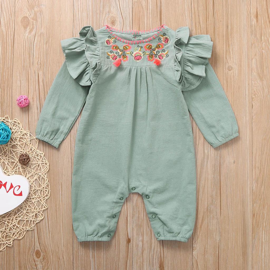 Newborn Kid Baby Girl Long Sleeve Floral Romper Jumpsuit Bodysuit Autumn Clothes