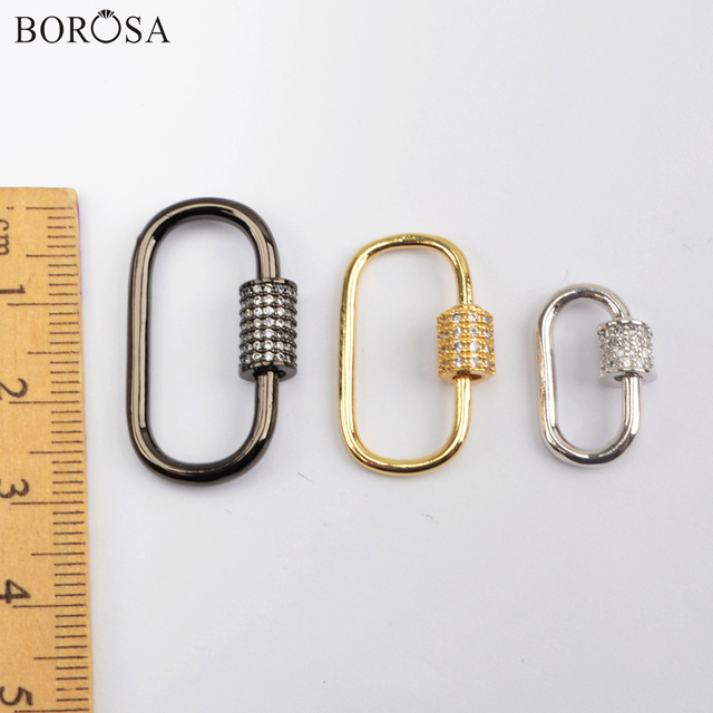 Borosa Goud Kleur Micro Verharde Cz Sluiting Connector Charms Oval Schroef Sluiting Sluiting Sluiting Voor Ketting Vrouwen Sieraden WX1352-1