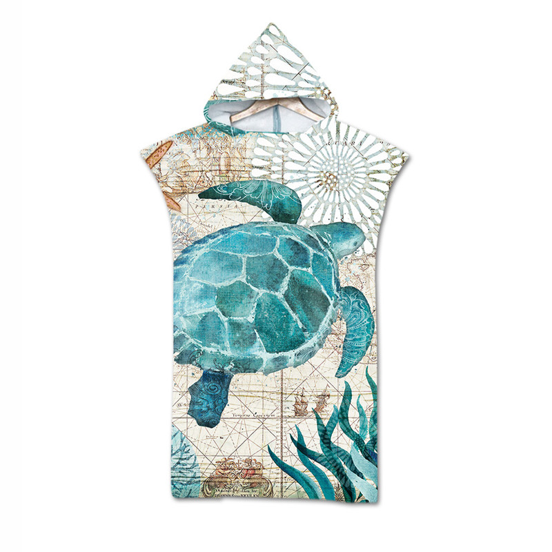 Turtle Print Microfiber Bath Beach Towel Dress Hooded Robe Poncho For Swim Beach Surf Man Woman Bathrobe Beachwear Robe De Plage
