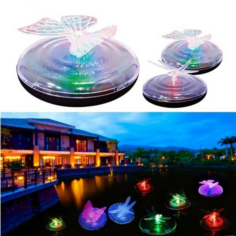 Solar Powered LED Light Color Changing Water Floating Ball Outdoor Garden Waterproof Hanging Ball Butterfly / Dragonfly Light