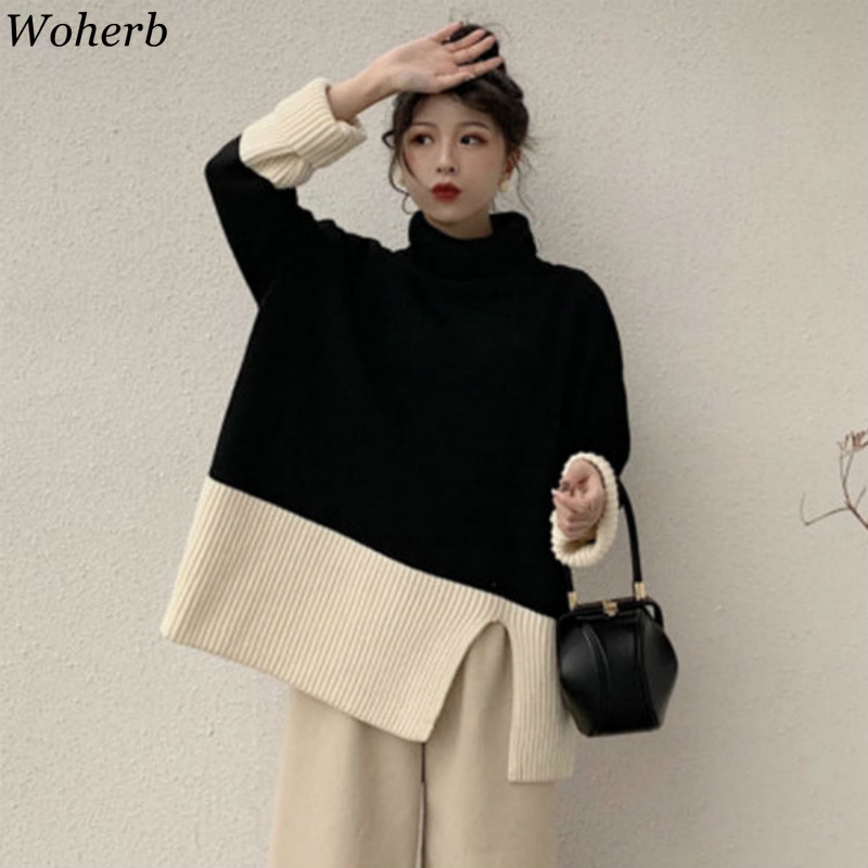 Woherb Sweater Women Turtleneck Long Sleeve Pullover Casual Vintage Contrast Color Knitted Tops Jumpers Korean New Fashion 90904